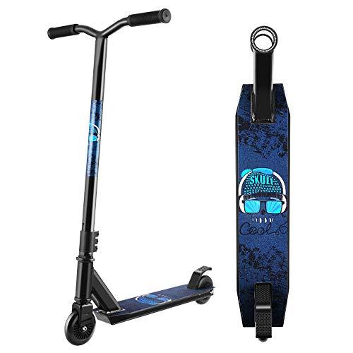 Hikole Patinete Scooter Freestyle para Niños y Principiante,Rotación de 360 Grados, Acrobático y Resistente a Saltos, 79 cm de Altura, 100 kg de Carga
