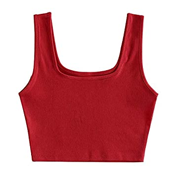 ZAFUL Women s Chain Strap Ribbed Racerback Solid Cami Crop Tank Top  U Neck-Red S