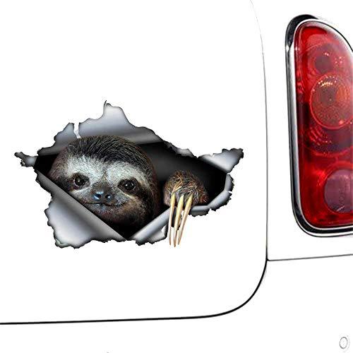 3D Auto Aufkleber Lustige Faultier Auto Aufkleber zerrissen Metall Aufkleber JDM 3D reflektierende Auto Stoßstange Dekor Auto Motorrad Aufkleber 13 cm x 8,5 cm