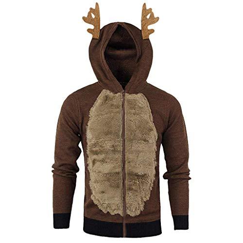 Momoxi Weihnachtspullover Herren lustig Zipper Pullover mit Elchohren Plus Size Ugly Christmas Sweater 3D Weihnachsmann Elch Muster