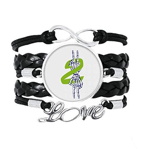 OFFbb-USA - Pulsera para celebrar la victoria de hueso de dedo con accesorio de amor trenzado de cuero para tejer pulsera de regalo
