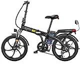 電動自転車 折りたたみ電動自転車Ebike 48V取り外し可能なリチウムイオン電池 250Wモーターとの3動作モード Ebikeと20インチ電動自転車 (Color : Black, Size : 180KM)