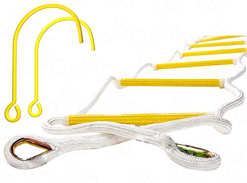 Fire Escape Ladder 25ft (8m) for Third Story Windows - Flame Resistant Safety Rope Ladder with Hooks - Weight Capacity up to 2000 Pounds