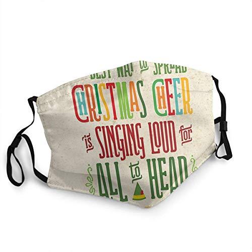 Buddy The Elf Christmas Cheer Fashion Protective Face Mask,Reusable Washable Face Mask Anti-dust Face Cover Bandana Balaclavas Balaclava