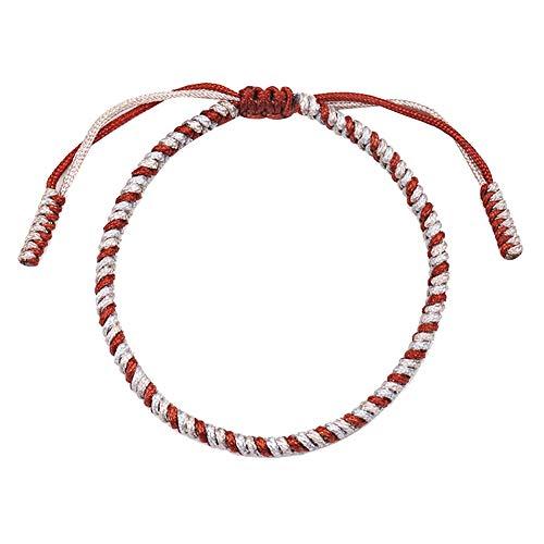 XQxiqi689sy Pulsera con nudos hechos a mano ajustable Braided cuerda Lucky Wristlet Wristband Circlet Unisex Amistad rojo