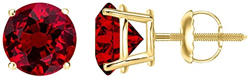 3/4 Carat Total Weight Ruby Solitaire Stud Earrings Pair 18K Yellow Gold Popular Premium Collection 4 Prong Screw Back