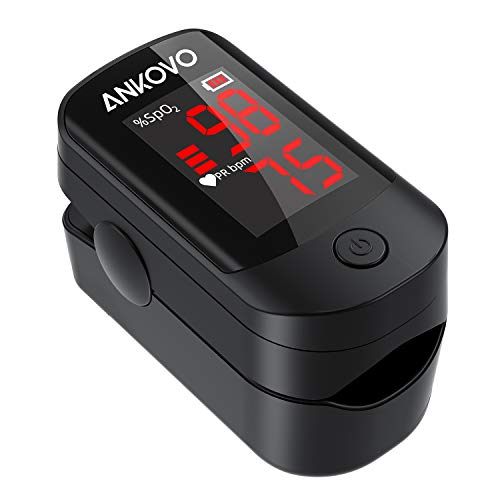 ANKOVO Pulse Oximeter Fingertip, Blood Oxygen Saturation Monitor for Pulse Rate and SpO2 Level, Portable Pulse Oximeter with Large LED Display, Batteries and Lanyard Included
