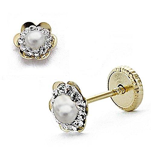 Boucled'oreille Zircons Fleur en or 18 carats de 5 mm. Siège auto pour bébé. 2.5mm Pearl. Fermeture à vis [Ab0342]