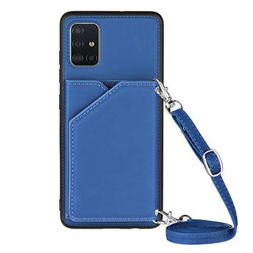 Funda Compatible con Samsung Galaxy A71 Cuero con Cuerda Carcasa Case con Correa para Colgar - Cuerda Bolsillo Trasero para Tarjetas para Samsung Galaxy A71,Azul