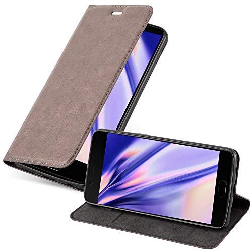 Cadorabo Hülle für OnePlus 5 - Hülle in Kaffee BRAUN – Handyhülle mit Magnetverschluss, Standfunktion & Kartenfach - Hülle Cover Schutzhülle Etui Tasche Book Klapp Style