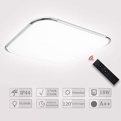 Hengda LED Deckenleuchte Dimmbar 18W LED Deckenlampe mit Fernbedienung Bad Leuchte Wohnzimmer Lampe für Badezimmer, Schlafzimmer, Küche, Kinderzimmer