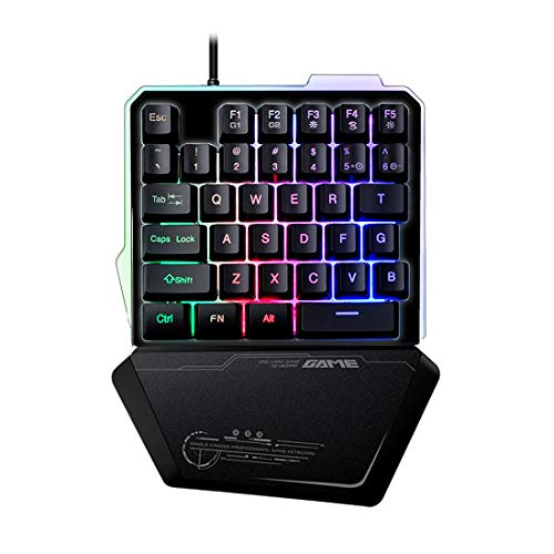 One Handed Gaming Keyboard, LED RGB Backlit Wired Single-Handed Game keypad, Portable Mini Gaming Keyboard