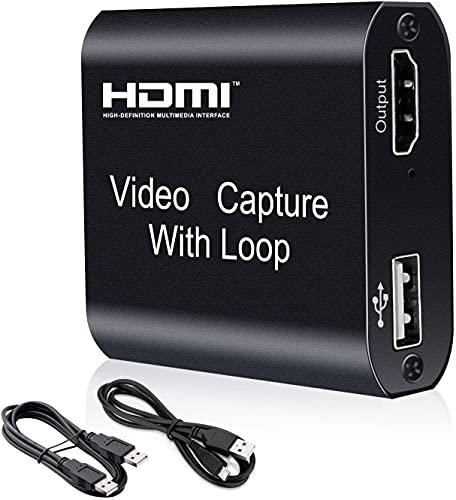 Tarjeta de Captura de Vídeo HDMI 4K con Loop out, HD 1080P USB 2.0 para Transmisión en Vivo de Transmisión de Vídeo para Juegos, Transmisión, Enseñanza, Videoconferencia
