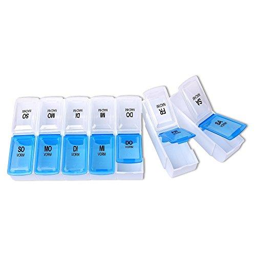 Schramm® Tablettenbox teilbar Pillen Tabletten Box 7 Tage 18,3 cm x 9 cm x 2,5 cm Schachtel Tablettendose Pillendose Pillenbox Tablettenboxen Pillendosen Pillen Dose 2 Fächer pro Tag