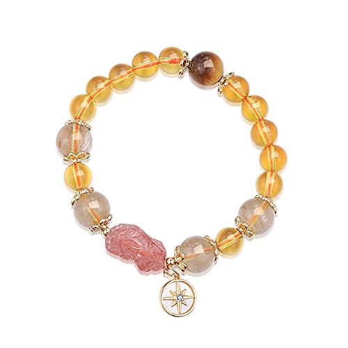 ZDZDQQ Yellow Citrine Bracelet Feng Shui Pixiu Stretch Bracelet Wealth Porsperity Bracelet Lucky Amulet Bracelet Fortune for Girlswomen Adjustable Elastic