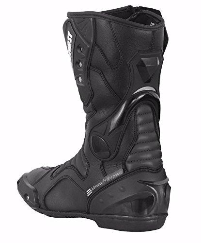 ProFirst Split Leder Wasserdicht Motorrad Motorrad Gepanzerte Stiefel Stiefel Schuhe Anti-Rutsch Rennsport | Schwarz / Black, EU 43 - 2