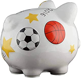 Sports Piggy Bank - Small - (Personalized & Custom With Name And Year) (First Financial Toy For Teaching Boys & Girls About Saving Money) (Perfect Unique Gift Idea For Babys 1st Birthday)