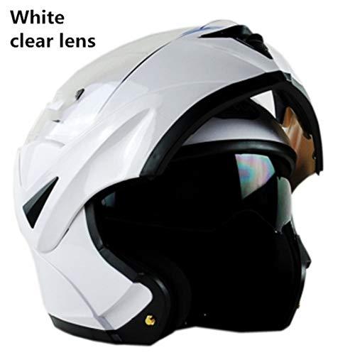 Flip Up Casco de Motocicleta para Hombre Casco Modular Hembra Doble Lente