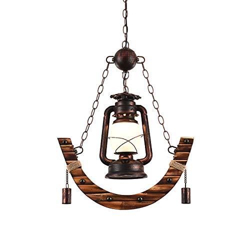 Lámpara Colgante Retro Una Sola Cabeza Luces Restaurante Pantalla Vidrio Hierro Bambú Tejido E27 Entrada Estudio Pasillo Ajustable Altura