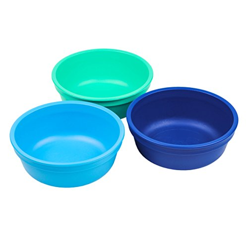 RE-PLAY Made in USA 3pk - 12 oz. Stackable Bowls | Aqua, Sky, Navy Blue | Eco Friendly Heavyweight Recycled Milk Jugs | Virtually Indestructible| BPA Free | True Blue