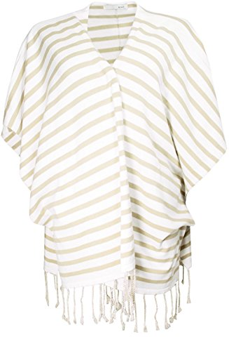 Oui gestreift Knit Poncho Gr. One size, White and cream
