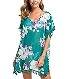 Tandisk Women's Chiffon Swimsuit Cover up, Tassel Bathing Suit Cover up (S/M, Dark Green Flower)