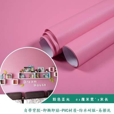 SMXGF Wallpaper zelfklevende slaapkamer meisje waterdicht warm roze behang slaapzaal muurstickers decoratief desktop meubels (Color : Pink matte, Dimensions : 3mx60cm)