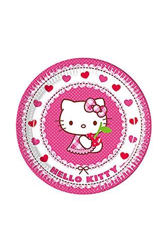 Procos 81791 Hello Kitty Hearts Assiette en carton Rose/blanc