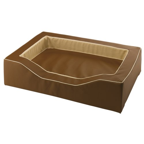 Ferplast 81026012 Majestic 110 Hundebett aus Lederimitat mit Synthetikmaterial, 108 x 75 x H 25 cm, braun