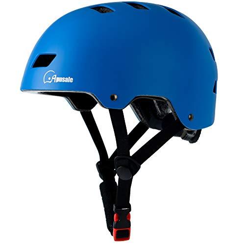 Apusale Skateboard Helmet,Kids Youth Adult Bike Helmet,for Scooter Cycling Roller Skate,Commuter,3 Adjustable Size for Child Men Women