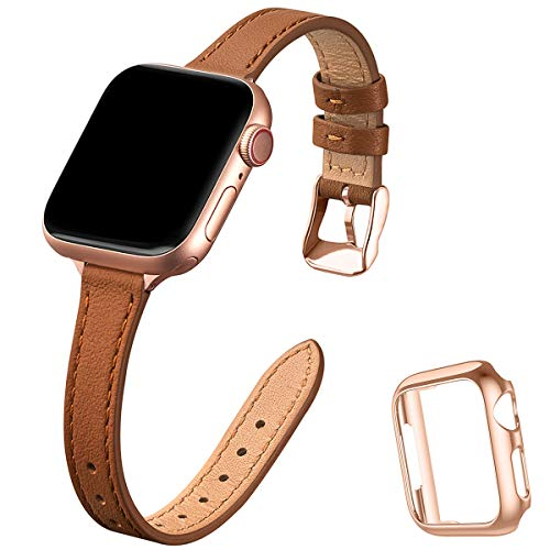 STIROLL Slim Leather Bands Compatible with Apple Watch Band 38mm 40mm 42mm 44mm, Top Grain Leather Watch Thin Wristband for iWatch Series 5/4/3/2/1 (Brown with Rose Gold, 38mm/40mm)
