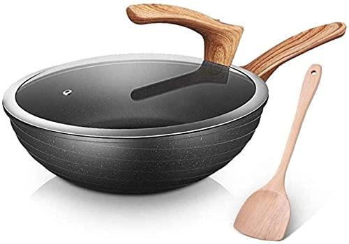 Woks - Padella antiaderente per uso domestico, grande capacità, utensili da cucina, antigraffio, con coperchio in vetro