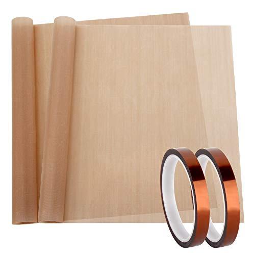 2 Pack Teflon Sheet Paper and 2 Pack Heat Tape High Temp Tape Heat Press...