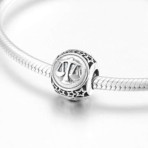 HGFRT Spacer Hohlperlen 925 Sterling Silber 12 Constellation Vielseitige Waage Feine Perlen Für DIY Armbänder Halsketten Schmuck Kleiner Charme Perlen