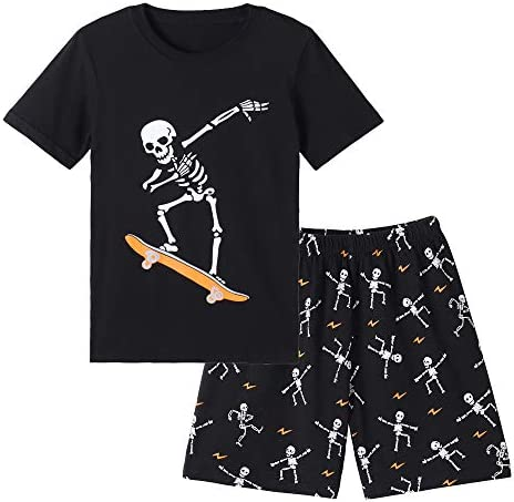 MyFav Big Boys Glow in Dark Skull Pjs Cotton Sleepwear Summer Pajama Shorts Sets Skateboard product image