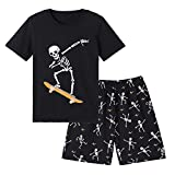 MyFav Big Boys Glow in Dark Skull Pjs Cotton Sleepwear Summer Pajama Shorts Sets, Skateboard, 10 Years