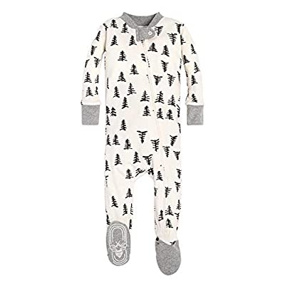 Burt's Bees Baby 1-Pack Unisex Pajamas, Zip-Front Non-Slip Footed Sleeper Pjs, Organic Cotton, Baby Trees, 18 Months