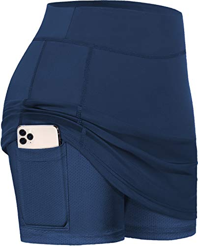 BLEVONH Navy Blue Skirts,Womens Skorts with Pocket Women Oversized Casual Workout Running Tennis Skort Woman Stretchy Bodycon Pencil Mini Skirt Ladies Golf Dresses Navy Blue 2XL