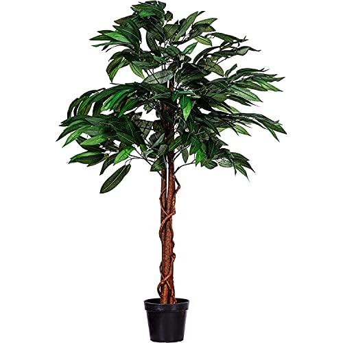 PLANTASIA® Mangobaum, Echtholzstamm, Kunstbaum, Kunstpflanze - 120cm oder 180 cm, Schadstoffgeprüft - 120 cm