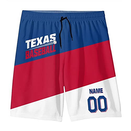 Texas Baseball Fans Custom Shorts Men Youth Quick Dry Beach Shorts Any Name&Number Gifts