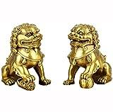 TongNS1 Un par de Estatua de león Feng Shui, decoración de Perro guardián Chino Lion Foo, símbolo de Prosperidad de Riqueza, Mejor decoración de Regalo de inauguración de la casa