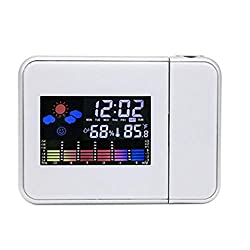 Rumfo Smart Digital Projection Clock, Colorful LCD Display LED Backlight Projector Digital Weather Snooze Alarm Clock Max/ Min Temperature & Humidity Records Clock (White)