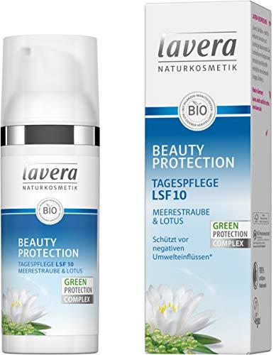 lavera Beauty Protection Tagespflege LSF 10 Meerestaube & Lotus ∙ Schutz vor negativen Umwelteinflüssen ∙ Antioxidantien ✔ Naturkosmetik ✔ vegan ✔ Bio Inhaltsstoffe ✔ Natürlich & Innovativ, 50 ml