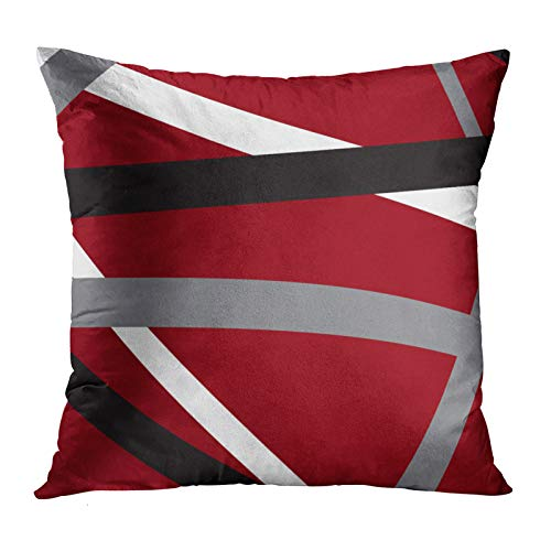 Accrocn Throw Pillow Covers Red Grey Black Abstract Stripes Spectacular Design Retro Pattern Cushion Decorative Pillowcases Polyester 18 x 18 Inch Square Pillowcase Hidden Zipper