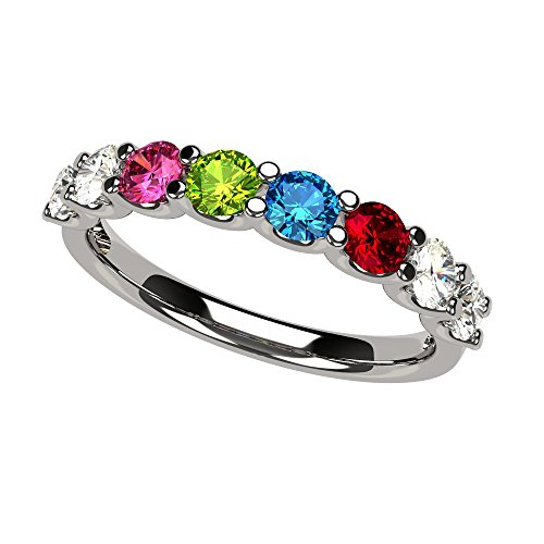 NANA U'r Family Ring 1 to 9 Simulated Birthstones - 10k White Gold - Size 7