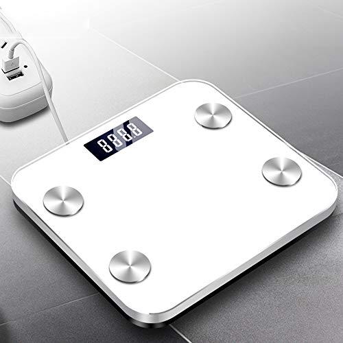 Básculas inteligentes, balanzas Básculas de grasa corporal Básculas digitales de baño Bluetooth Monitores de composición corporal 79 Analizador de datos del cuerpo físico Básculas de peso,Blanco