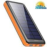 Feob 26800mah Power Bank Solar, Cargador Solar【2020 IC de Control Inteligente】con Entradas de Tipo-C, Micro USB o Paneles Solares, Carga Rápida Batería Externa Universal para Smartphones, Tabletas