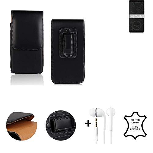 K-S-Trade® Leder Gürtel Tasche + Kopfhörer Für HTC Exodus 1 Seitentasche Belt Pouch Holster Handy-Hülle Gürteltasche Schutz-Hülle Etui Schwarz 1x