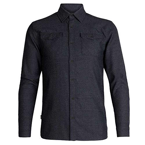 icebreaker Mens Lodge Ls Flannel Shirt Langärmliges Hemd Herren, Herren, 104478030XXL, Schwarz, meliert, XXL