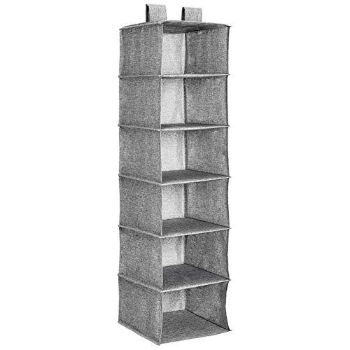 Amazon Basics Hanging Closet Shelf - 6-Tier, Heather Grey